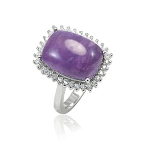 Halo Cocktail Wedding Ring Long Cushion Cut Simulated Purple Amethyst Round CZ 925 Sterling Silver