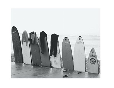 Wall of Surf Boards Poster Print Art, 11 x 14 Inches, Black White Grey Color, Modern Home Decor