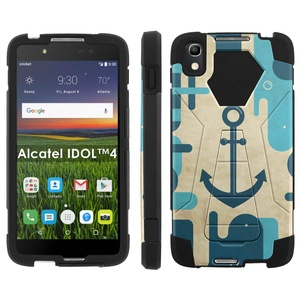 Alcatel One Touch IDOL 4 [Nitro 4/49] Phone Cover, Blue Vintage Anchor - Black Hexo Hybrid Armor Phone Case for Alcatel One Touch IDOL 4 [Nitro 4/49]