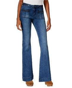 Earl Women's Braided-Detail Flared Jeans (06, Medium Blue)