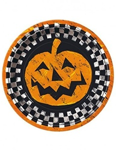 8 x Halloween party paper plates Checkered Halloween by Checkered Halloween
