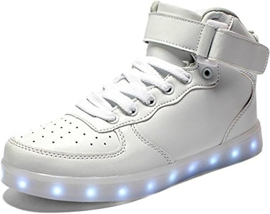 dalayer LED Light Up Shoes Boy Girl Classic Leather Hi Fashion Sneakers (Toddler/Little Kid/Big Kid) White2.5 M US Little Kid