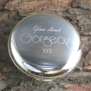 Compact Mirror - You Look Gorgeous engraved on the front of round handbag mirror by Lapal Dimension