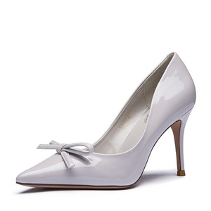Lady autumn sweet patent leather bow light shoes/Pointed stiletto heeled shoes-D Foot length=22.8CM(9Inch)