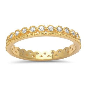 3mm Full Eternity Stackable Crown Wedding Band Ring Round CZ Yellow Gold Plated 925 Sterling Silver