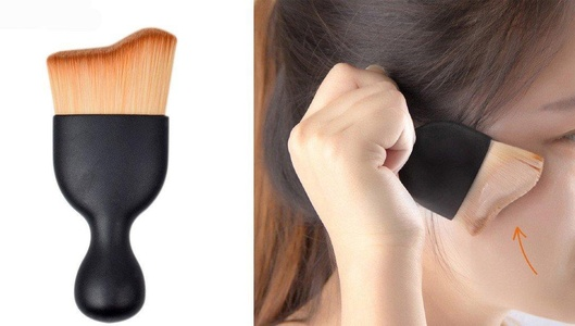 YABINA S Shape Wave Arc Curved Hair Shape Wine Glass Base Foundation Pro Contour Kabuki Brush for Makeup