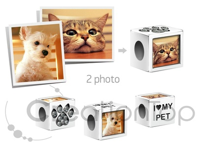 Creationtop Personalized fits Pandora charm with your pet's photos Add Your Own Photo Custom Charm (silver plated)