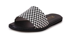 CHFSO Women's Fashion Open Toe Slip-resistant Beach Slipper Flat Slide Sandals Houndstooth 4 B(M) US
