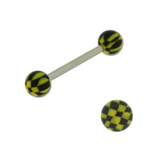 Acrylic Barbell Tongue Ring with Black & Yellow Ball