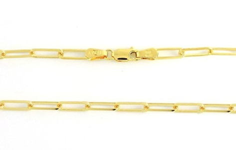 14K Solid Yellow Gold Elongated Diamond Cut Link 3.2mm 8.3gr 24
