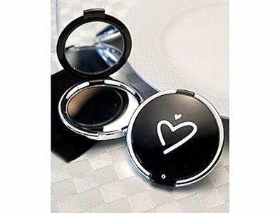 Pack of 6 Styling Black Heart Design Compact Mirror Favours by Mirror Favours