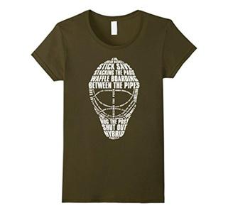 Women's Hockey T-shirt Hockey Tee Shirts, love Hockey , play Hockey Small Olive