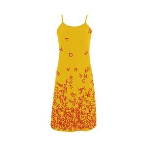 Abbie Miller Interesting Letter Custom Women's Polyester Casual Slip Dress Yellow