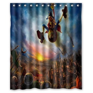 Personalized Cartoon War Shower Curtain,Shower Rings Included 100% Polyester Waterproof 60