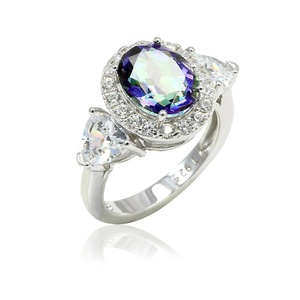 Halo Wedding Engagement Ring Oval Cut Rainbow Cubic Zirconia Trillion Cut CZ 925 Sterling Silver
