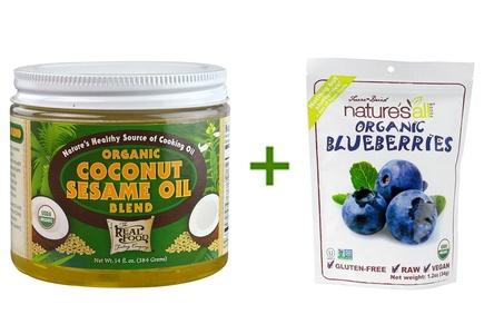 FunFresh Foods Organic Coconut Sesame Oil Blend -- 14 fl oz, ( 2 PACK ), Nature's All Foods Organic Freeze-Dried Raw Blueberries -- 1.2 oz