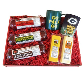 WISCONSIN'S BEST and WISCONSIN CHEESE COMPANY - GREEN BAY PACKER FAN Gift Basket - features Smoked Summer Sausages, 100% Wisconsin Cheeses and Packer Novelties - Great Gift