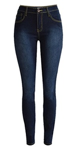 Olrain Womens Destroyed Ripped Hole High Waist Stretch Skinny Jeans (46=US 12, Deep Blue)