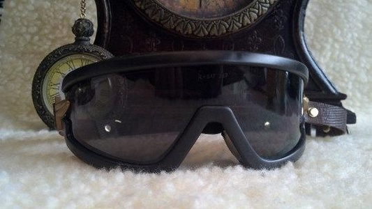 Burning man Steampunk Goggles, custom side band, adjustable, forms to face. Cyber  Mad Max goggles