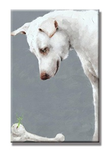 Charming Charm-Cute Dog and His Bones Hand Painted Oil Painting with Stretched Frame Wall Art 24 x 36 Inch