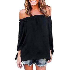 HANYI Women Long Sleeve Off Shoulder Casual Blouse (M, Black)