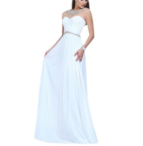 Aurora Bridal 2016 Women Chiffon A Line Long Beading Bridesmaid Dresses White 4