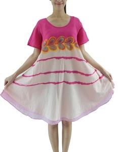 Hand Drawn Painted Women Cotton Dress Pink 2 Layer Handmade