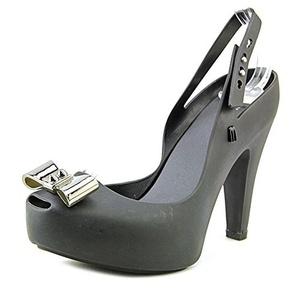 Melissa UltraGirl Heel Women Peep-Toe Synthetic Black Slingback Heel