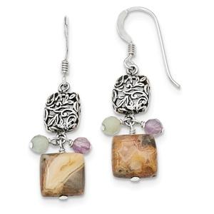.925 Sterling Silver 37 MM Antiqued Amethyst/Green Agate/Jasper Earrings