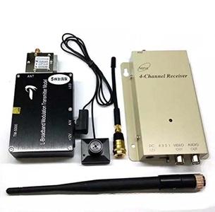 51youg 1.2G 5W Enhanced Long Distance (200M~550M) Wireless Audio Video Transmitter Receiver Mini Spy Pinhole Button Camera (Transmitter Receiver & Button Camera)