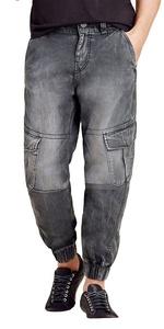 True Religion Men's Cargo Runner Jeans (34, Washed Black)
