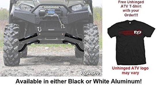 Bundle 2 items: Super ATV Polaris Ranger 800 2009+ XP & 2010+ Crew High Clearance Forward A-Arms and FREE Unhinged ATV T-Shirt (XL, Black)