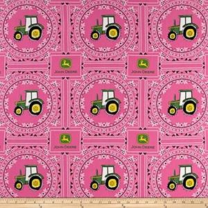 John Deere Bandana Tractor Pink Fabric By The Yard