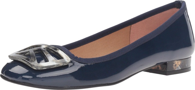 French Sole Women's Talisman Navy Patent Flat 7.5 M