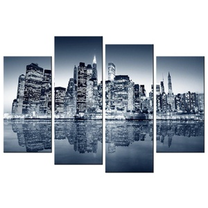 VVOVV Wall Decor - 4 Panel Canvas Wall Art The Building Of The City Night Modern Painting Black And White Edifice Giclee Artwork Picture Prints 12x24inx2pcs+12x32inx2pcs,unframed
