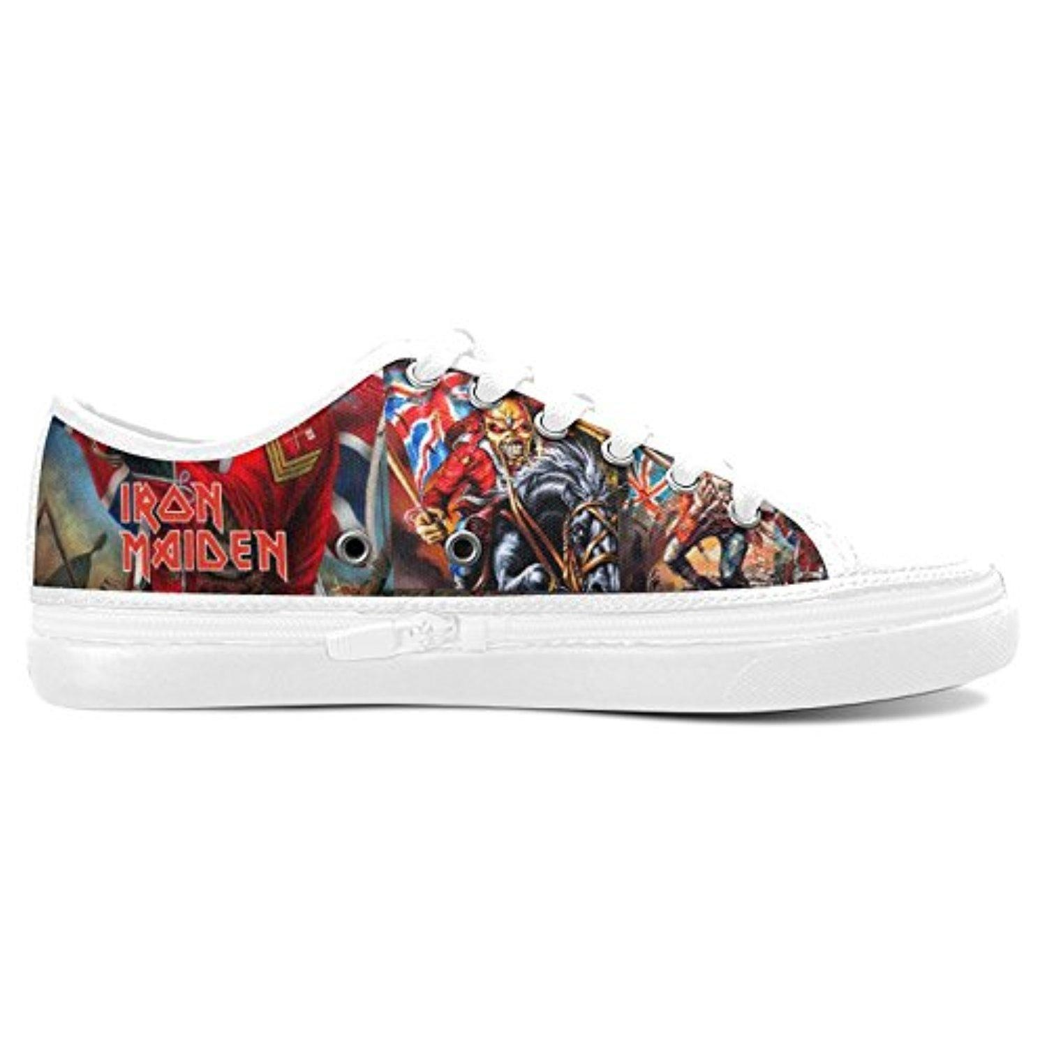 H-ome Art Iron Maiden Custom Women's Nonslip Zippered Canvas Shoes Sneakers,White