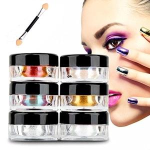Sunfei 12 Colors Nail Glitter Powder Shinning Nail Mirror Powder Makeup Art DIY Chrome Pigment With Sponge Stick