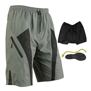 Men's Breathable Reflective Stripe Bike Padded Baggy Shorts