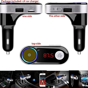 LarKoo Wireless In-Car Hands-Free Car Charger vehicle Bluetooth FM Adapter Transmitter Modulator Converter Car Kit MP3 Player with Dual USB Car Charging Port Ignition Cigarette Lighter LCD display