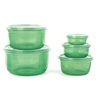 ONEONEY Plastic Food Storage Containers Round/Rectangular with Lids Food Savers Lunch Boxes Leak-Resistant, set of five/seven-(Green,Round)