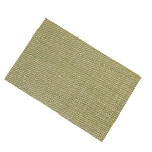 Lerela Set Of 4 Green Stripes PVC Placemat Heat Insulation Woven Vinyl Table Place Mat