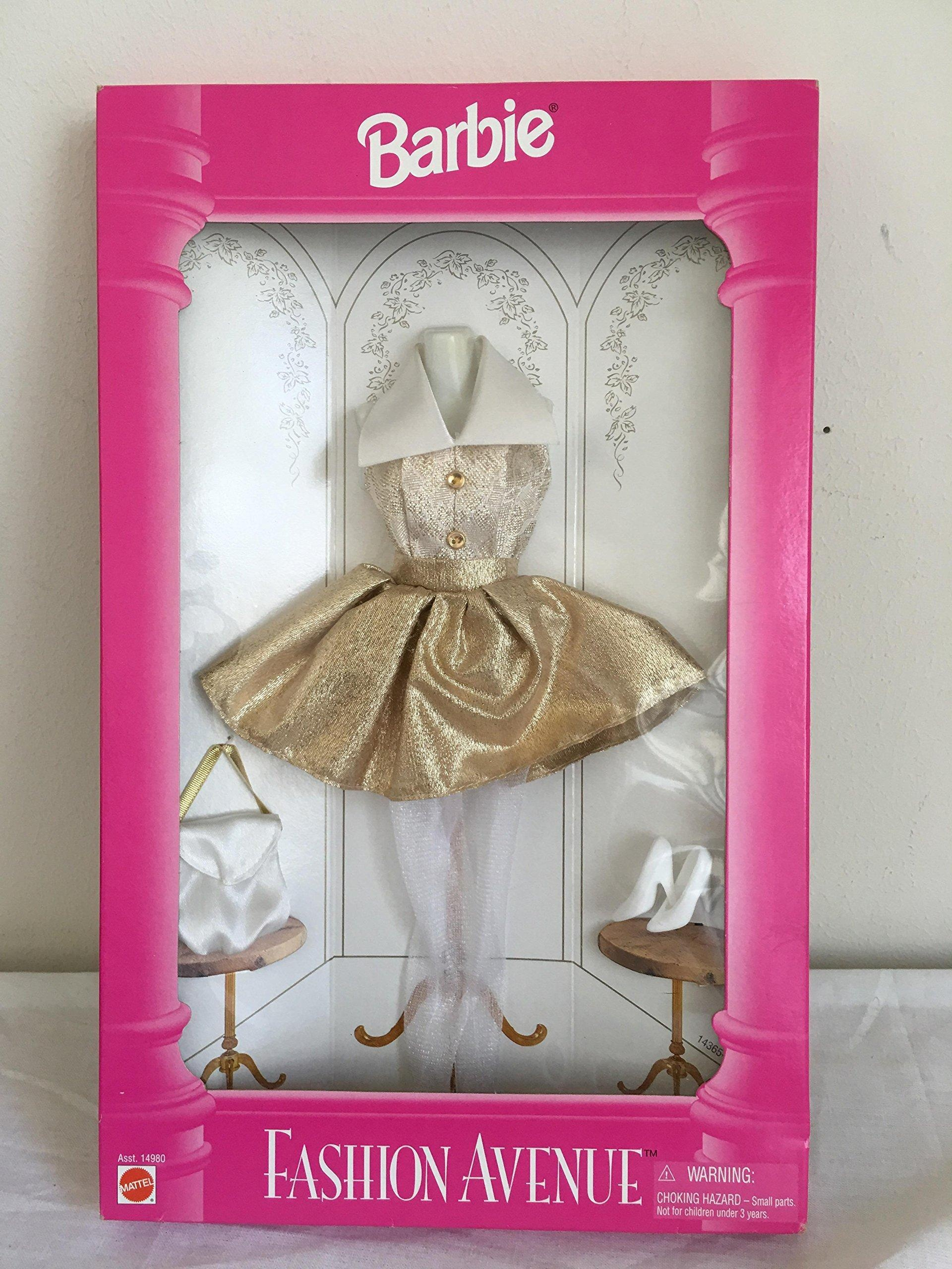 Gold Barbie Fashion outfit dress white purse shoes stockings