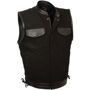 Black Denim Biker Vest with Leather Trim & Side Lacing by Milwaukee Leathter