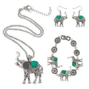 GD-Turquoise lovely Elephant set Vintage turquoise Bracelets Earrings Necklace silver plated