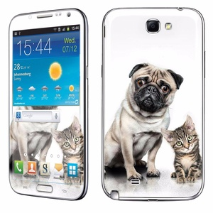 Samsung [Galaxy Note 2] Skin [NakedShield] Scratch Guard Vinyl Skin Decal [Full Body Edge] [Matching WallPaper] - [Dog and Cat] for Samsung Galaxy [Note 2]