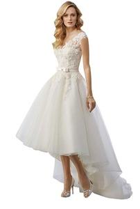 Suzhou Laidisi Women's Strap Bow Sash Double V-Neck Hi-Lo Lace Wedding Dress White US6