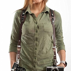 RL Handcrafts Clydesdale Lite - Dual Camera Leather Harness - (Coffee, Small)