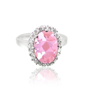 Halo Cocktail Wedding Engagement Ring Oval Cut Rose Pink CZ Round Cubic Zirconia 925 Sterling Silver