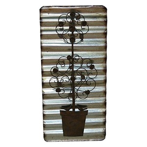 Wall Decor for Indoor and Outdoor Use Antique Bronze Hand Painted Pot with Flower Metal Wall Art - 14W x 1.25D x 29.5H in.