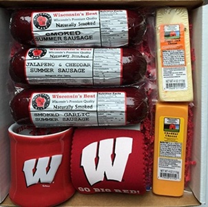WISCONSIN'S BEST and WISCONSIN CHEESE COMPANY - BADGER FAN Gift Basket - features our Smoked Summer Sausage Sampler, 100% Wisconsin Cheeses and Badger Novelties